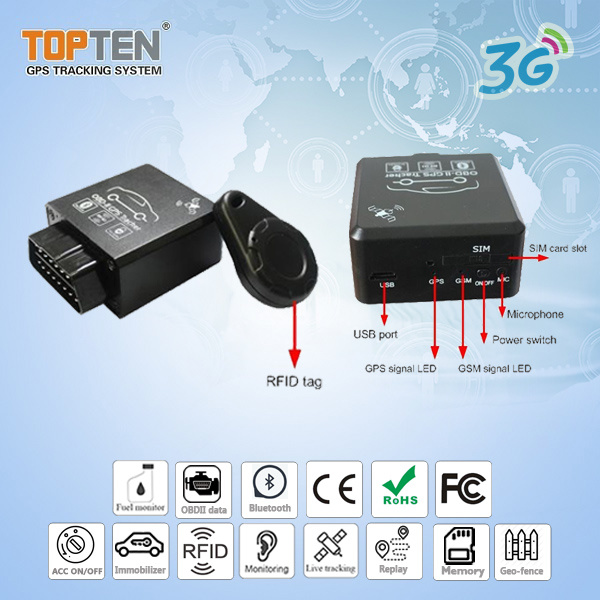 2g & 3G GPS Tracking OBD with Stop Engine, RFID Auto Arm/Disarm (TK228-ER)