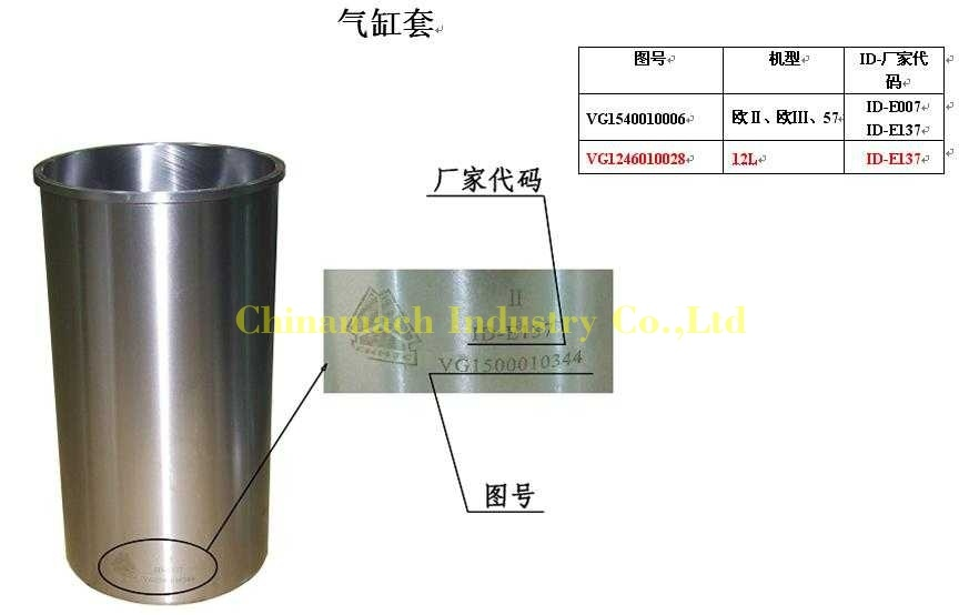 Cylinder Liner (VG1246010028) for HOWO A7 420 D12 Truck   IBUYautoparts com